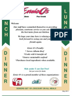 2011 Fox Creek - Lunch and Dinner Menu