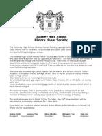 History Honor Society Applications