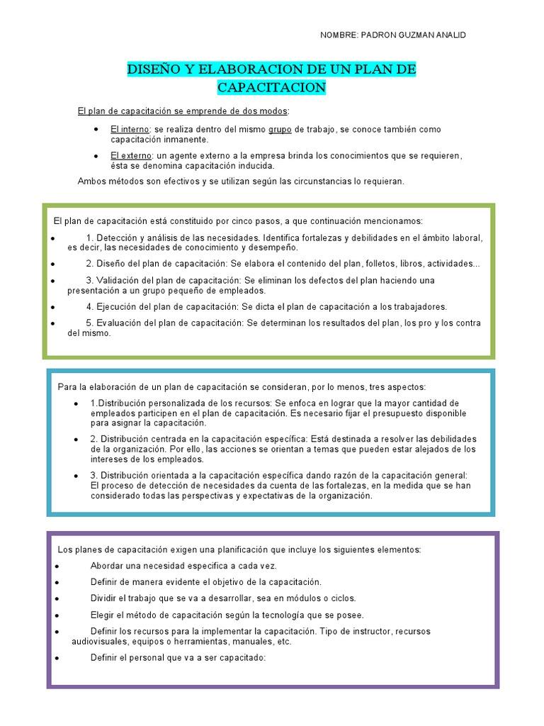 DISEÑO Y ELABORACION DE UN PLAN DE CAPACITACION