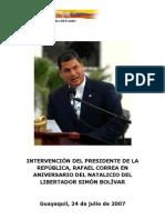 07-24-07 Discurso Natalicio del Libertador Simón Bolívar