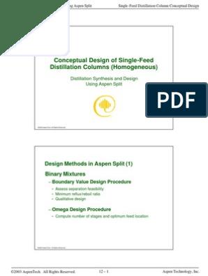 12_ConceptualDesignDistillationColumns | Distillation | Unit Operations