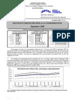 Indices des prix à la consommation - Septembre 2008 (INSTAT - 2008)