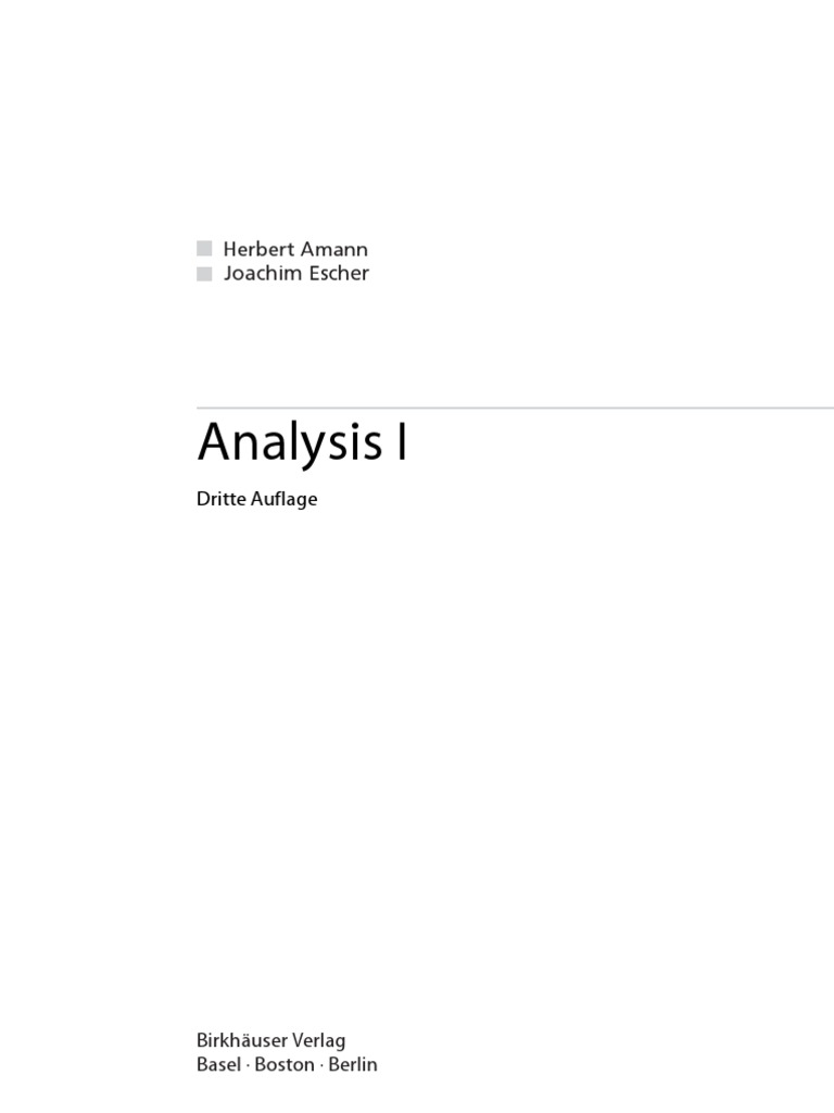 Amann H., Escher J. Analysis 1