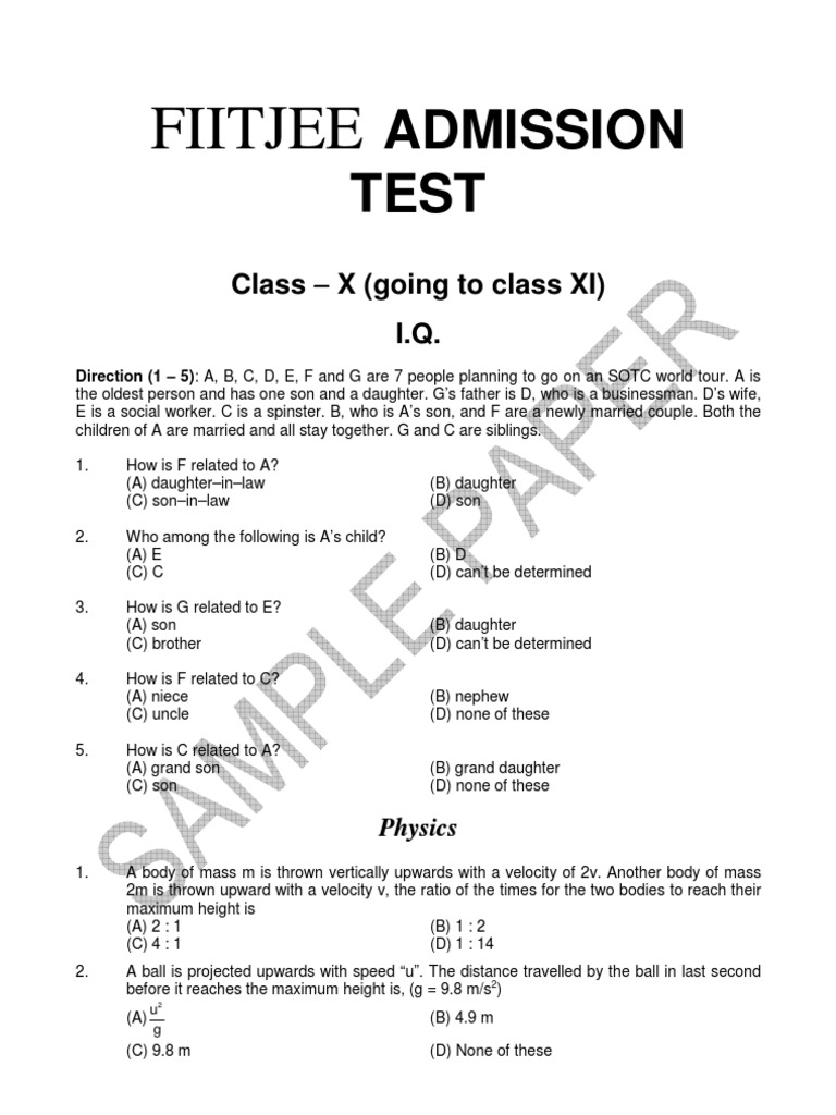 Admission papers for sale in fiitjee