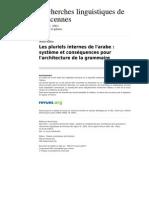 Rlv 473 32 Les Pluriels Internes de l 39 Arabe Systeme Et Consequences Pour l 39 Architecture de La Grammaire