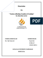 Dissertation on Factors Affecting Training Transfer