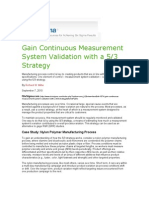 100905 Miller Gain Continuous Measurement System Validation