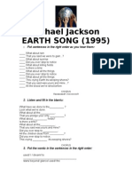 Michael Jackson EARTH SONG Worksheet W-gaps