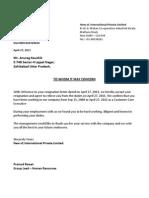 Releaving Letter Format