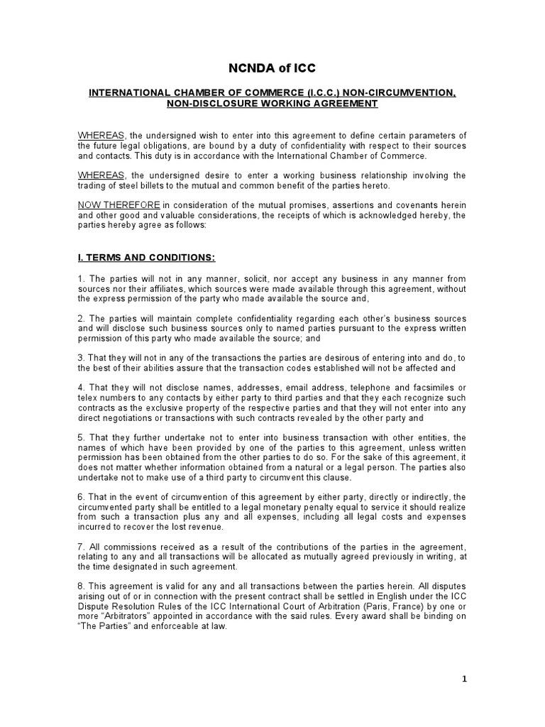 non circumvention agreement template nda and non circumvent