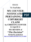 """CHRISTINA SAWYER FILED A """"COPYRIGHT CLAIM"""" AGAINST MY YOUTUBE CLIP & I MADE A COUNTER-NOTIFICATION OF FAIR USAGE"""