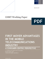 First Mover Advantages in the Mobile Telecommunications Industry. a Consumer-Centric Perspective (2011)