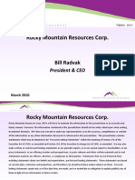 Rocky Mountain Resources Corp Vanadium Mining Project