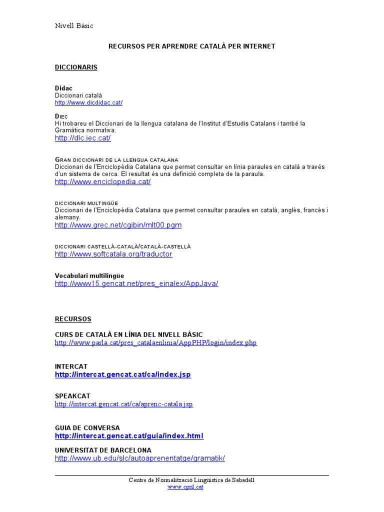 Recursos Per Aprendre Catala Per Internet