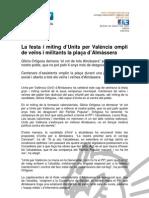 La festa i míting d'Units per Valéncia ompli de veïns i militants la plaça d'Almàssera