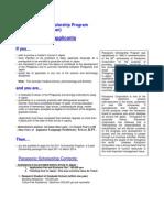 2010 Panasonic Scholarship Details