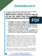 Nota de prensa del mitin de Esperanza Aguirre en Collado Villalba
