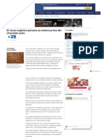 El cacao orgánico peruano es materia prima del chocolate suizo