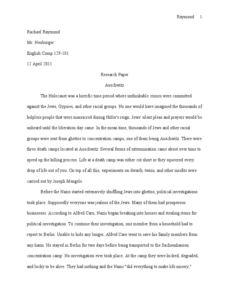 Holocaust research paper