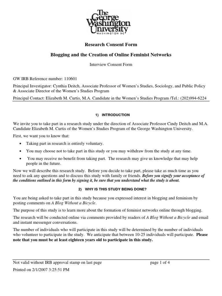 Thesis Interview Consent Form