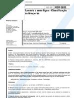 NBR 06835 - 2000 - Classificação das Temperas do Alumínio