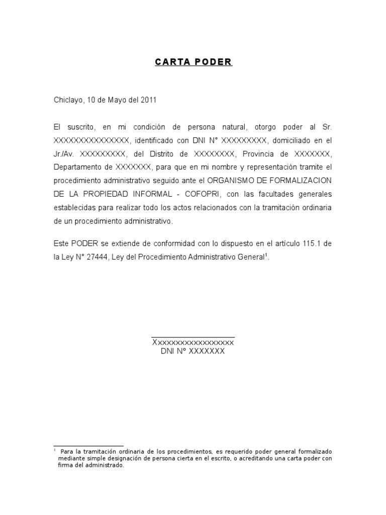 Carta poder para tramite administrativos - Solicitar nota simple registro propiedad gratis ...