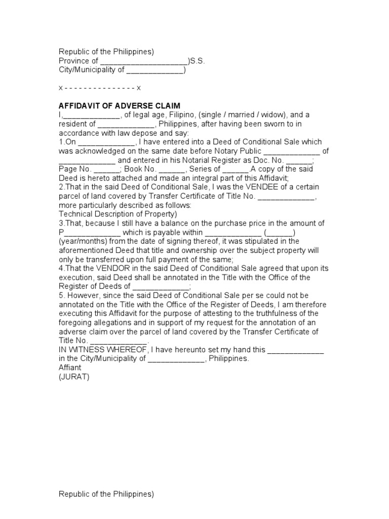 Sample Adverse Claim Deed Notary Public
