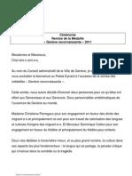 Remise Médaille Genève reconnaissante 16 mai 2011