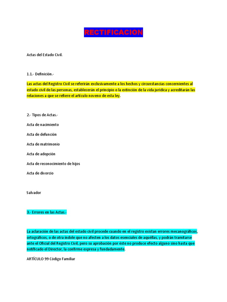 Actas Del Registro Civil