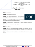 Trabalho de Pares Dialogue Dealing With a Complaint Role-Play