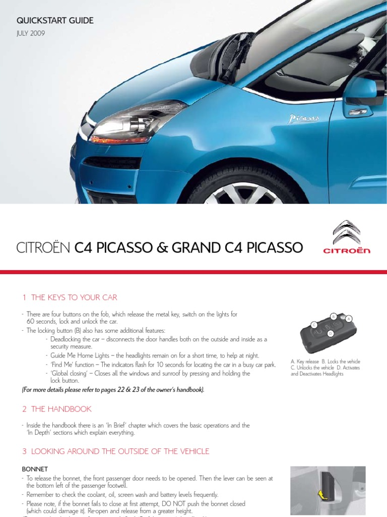 Citroen C4 Grand Picasso Quick Start Guide | Manual Transmission |  Automatic Transmission