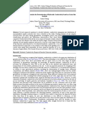 Hydraulic Conductivity Empirical Formulae Hydrogeology