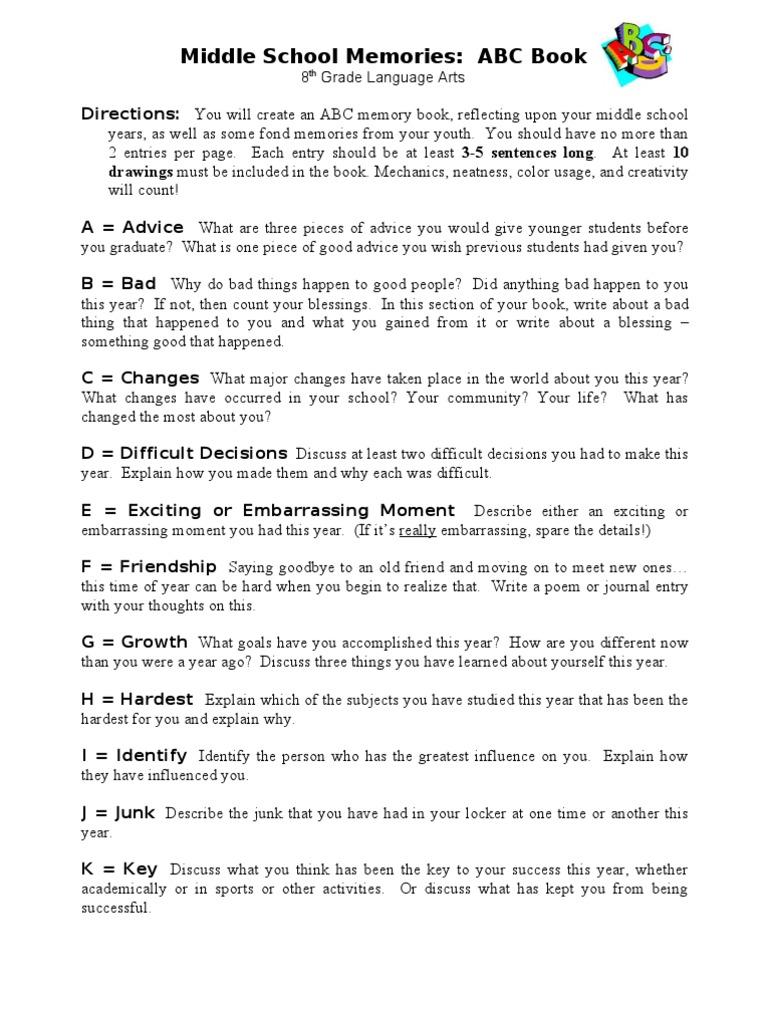 Middle school memories abc book solutioingenieria Choice Image