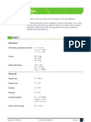 As Physics Formula Sheet Unit 1 Elasticity Physics