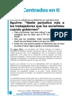 Nota de prensa Aguirre Mitin Madrid Río con Aznar y Gallardón