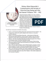 Bishop Ottenweller's Correspondence with Servants of Christ the King