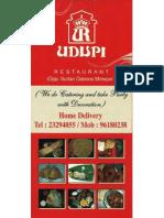 Udupi Indian Vegetarian Restaurant Menu
