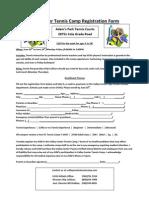 Valley Center Tennis Camp Registration Form