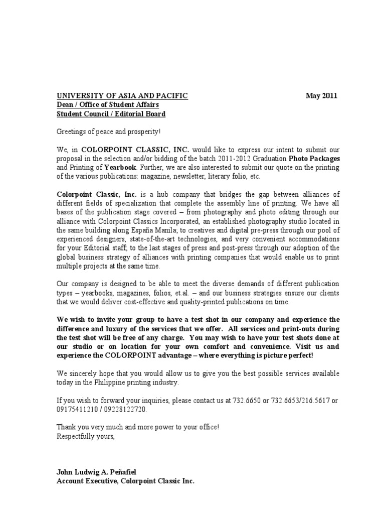 sample proposal letter for school photography job