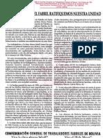 18 de mayo-PRONUNCIAMIENTO ANIVERSARIO DE FABRILES DE BOLIVIA
