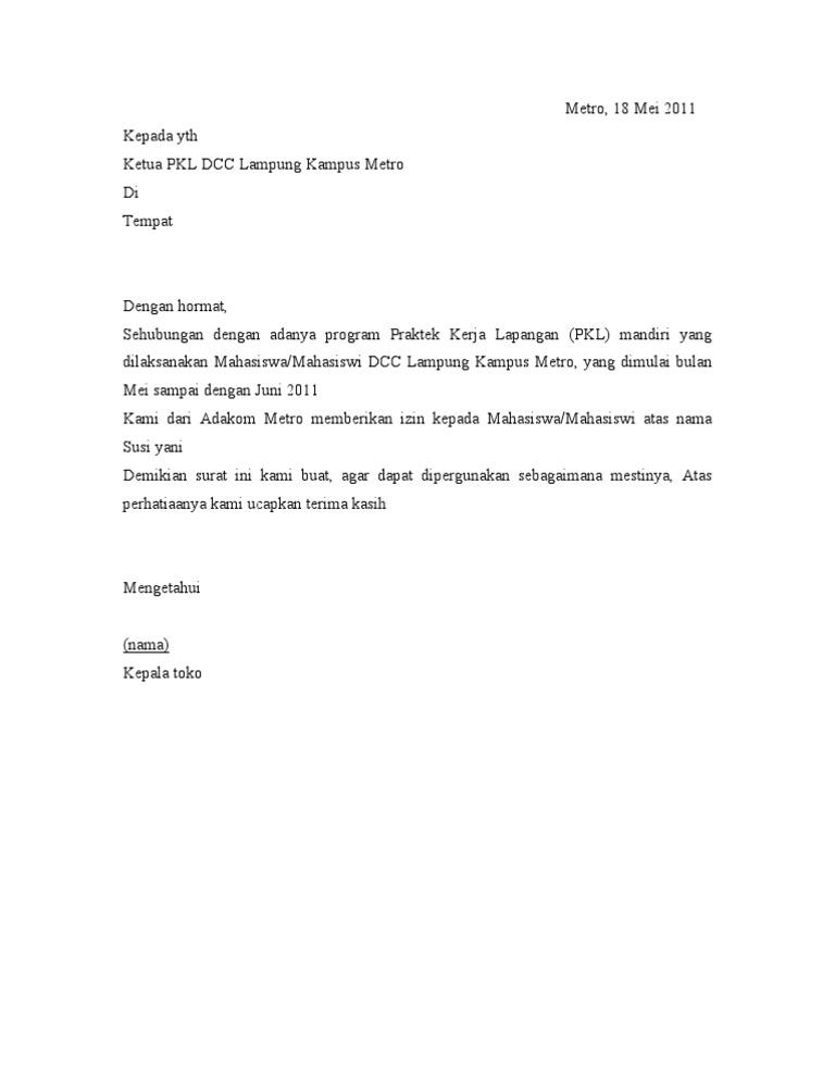 Contoh Surat Balasan Permohonan Magang