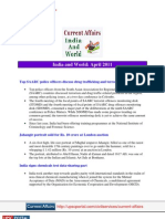 Current Affairs for IAS Exam 2011 India World April 2011 Www.upscportal