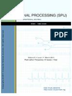 Signal Processing an International Journal (SPIJ) Volume 5 Issue 1
