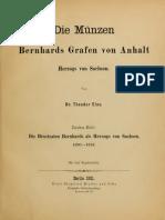 Die Münzen Bernhards Grafen von Anhalt, Herzogs von Sachsen. 1. H.