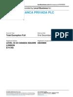 BANDENIA BANCA PRIVADA PLC  | Company accounts from Level Business