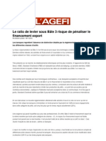 «Le ratio de levier sous Bâle 3 risque de pénaliser le financement export»