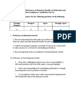 Questionnaire on Effectiveness of Monetary Benefits on Motivation and Retention of Employees