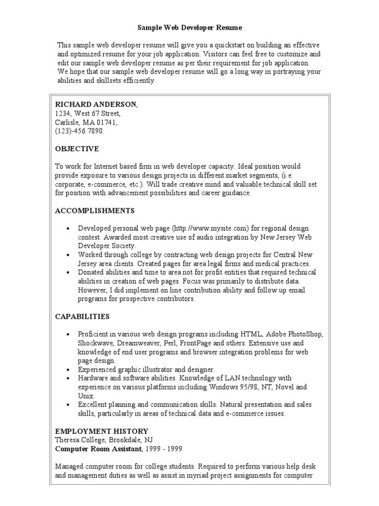 sample web developer resume  graphic design  web design