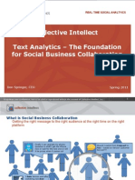 Text Analytics Summit - Text Analytics – The Foundation for Social Business Collaboration Presented by Don Springer