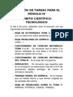 RELACIÓN DE TAREAS PARA EL MÓDULO-IV